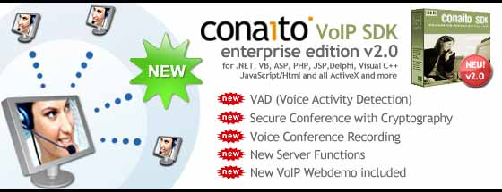 conaito VoIP SDK ActiveX for developers of VoIP audio applications and webpages, such as voice chat, conference, VoIP, providing real-time low latency multi-client audio streaming over UDP networks. Includes efficient components for sound recording